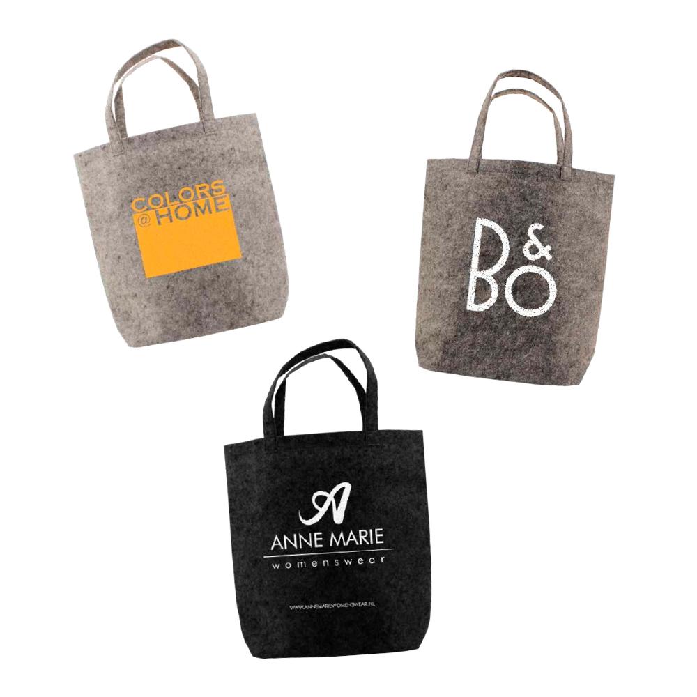 555441d6f5a Mørk grå Filt TOTE taske med logo 42x42cm   Fra 100 stk.   Køb online