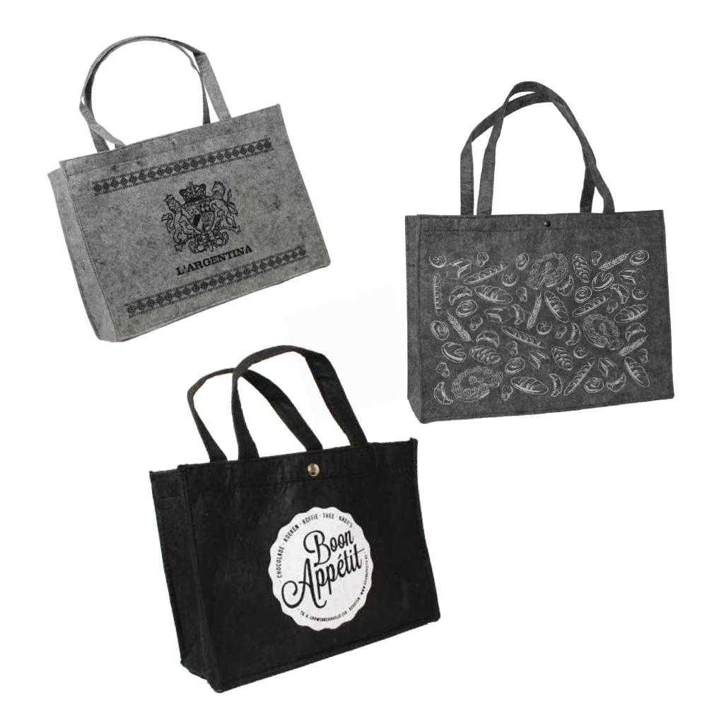 304ea081351 Filt shopper taske med logo 27x20cm   Mørk grå Fra 100 stk.   Køb online